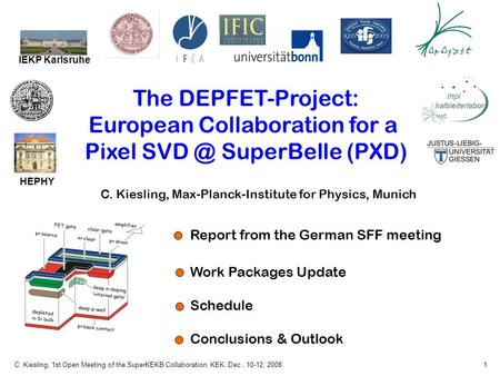 C. Kiesling, 1st Open Meeting of the SuperKEKB Collaboration, KEK, Dec.. 10-12, 20081 The DEPFET-Project: European Collaboration for a Pixel SuperBelle.
