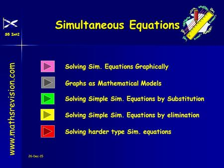 26-Dec-15 Solving Sim. Equations Graphically Solving Simple Sim. Equations by Substitution Simultaneous Equations www.mathsrevision.com Solving Simple.
