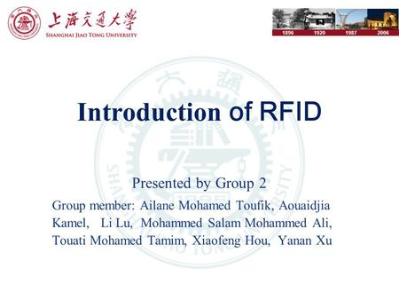 1896192019872006 Introduction of RFID Presented by Group 2 Group member: Ailane Mohamed Toufik, Aouaidjia Kamel, Li Lu, Mohammed Salam Mohammed Ali, Touati.