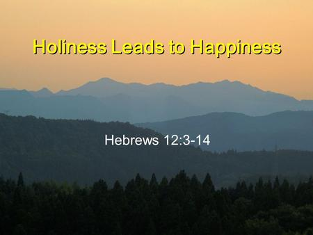 Holiness Leads to Happiness Hebrews 12:3-14. Hebrews 12:3-6 3 Consider him who endured such opposition from sinful men, so that you will not grow weary.