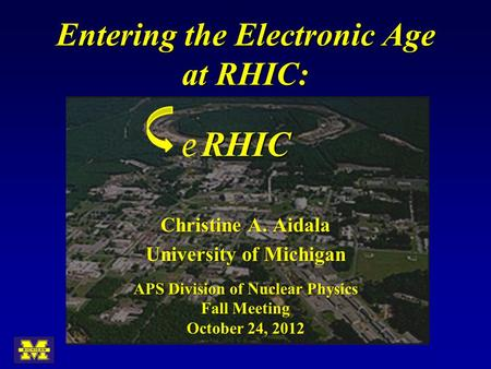 E Entering the Electronic Age at RHIC: RHIC APS Division of Nuclear Physics Fall Meeting October 24, 2012 Christine A. Aidala University of Michigan.