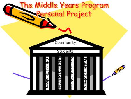 The Middle Years Program Personal Project Community Students Critical Thinkers Life-long Learners Responsible Citizens Problem Solvers.