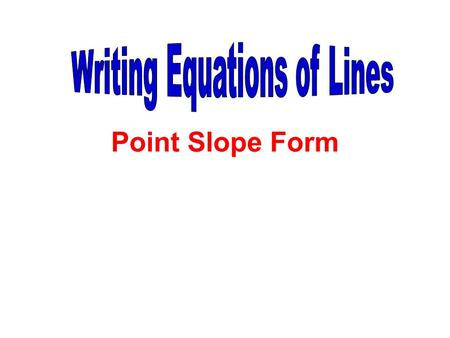 Point Slope Form. Write the equation of the line with slope 3 and passing through the point (1, 5). y – y 1 = m(x – x 1 )