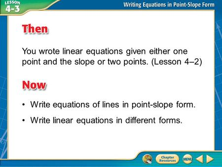 Write equations of lines in point-slope form.