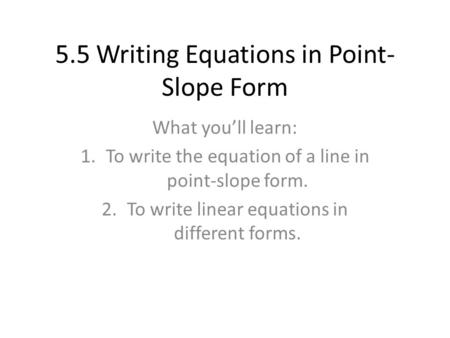 Top Result 70 New Write Equation In Point Slope Form Calculator