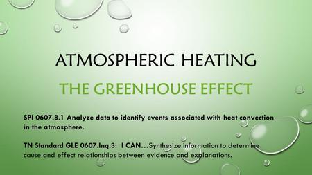 ATMOSPHERIC HEATING THE GREENHOUSE EFFECT SPI 0607.8.1 Analyze data to identify events associated with heat convection in the atmosphere. TN Standard GLE.