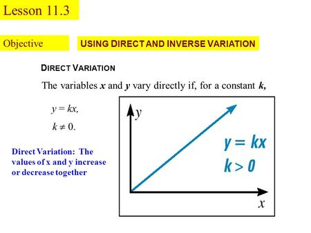 U SING D IRECT AND I NVERSE V ARIATION D IRECT V ARIATION The variables x and y vary directly if, for a constant k, k  0. y = kx, Objective Lesson 11.3.
