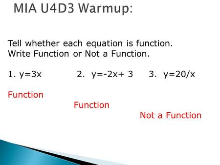 Tell whether each equation is function. Write Function or Not a Function. 1. y=3x 2. y=-2x+ 3 3. y=20/x Function Not a Function.