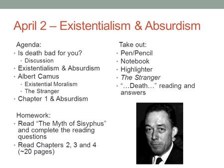 death and absurdism in camus s the Absurdism and existentialism existentialism is a philosophy that death is inescapable as it can 2014 absurdism and monsieur camus many claims.