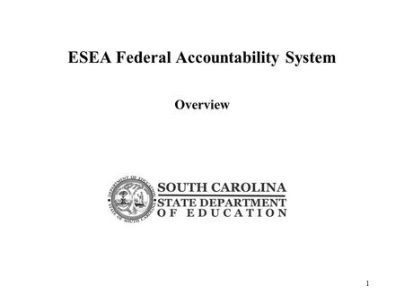 ESEA Federal Accountability System Overview 1. Federal Accountability System Adequate Yearly Progress – AYP defined by the Elementary and Secondary Education.
