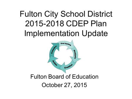 Fulton City School District 2015-2018 CDEP Plan Implementation Update Fulton Board of Education October 27, 2015.