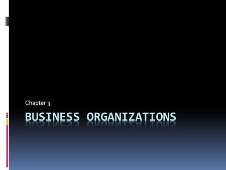 Chapter 3 Section 1 Forms of business organization.