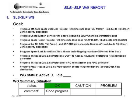 Apr 20091 1.SLS-SLP WG Goal: Progress TM, AOS Space Data Link Protocol Pink Sheets to Blue (OID frame)* Hold due to FSH/Insert Zone/Security discussion.