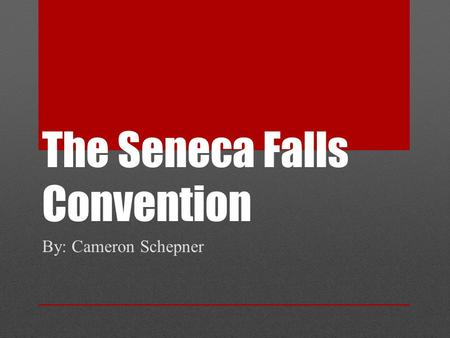 The Seneca Falls Convention By: Cameron Schepner.