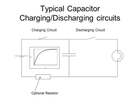 Typical Capacitor Charging/Discharging circuits Optional Resistor Charging CircuitDischarging Circuit.