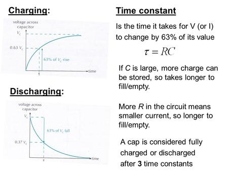 Time constant Is the time it takes for V (or I) to change by 63% of its value If C is large, more charge can be stored, so takes longer to fill/empty.