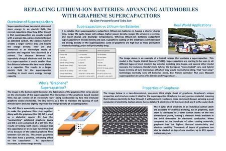 REPLACING LITHIUM-ION BATTERIES: ADVANCING AUTOMOBILES WITH GRAPHENE SUPERCAPACITORS By Dan Passarello and Toby Sun The image above is an example of a.