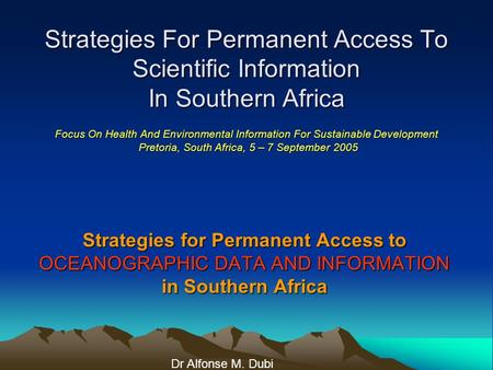 Strategies For Permanent Access To Scientific Information In Southern Africa Focus On Health And Environmental Information For Sustainable Development.