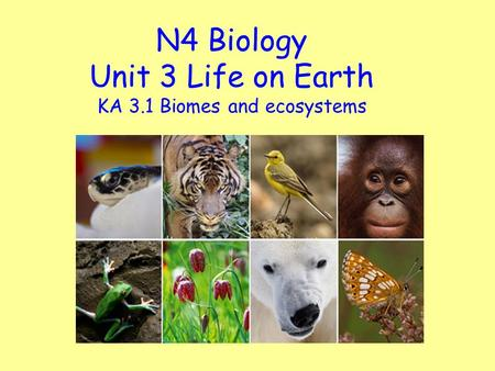 N4 Biology Unit 3 Life on Earth KA 3.1 Biomes and ecosystems.