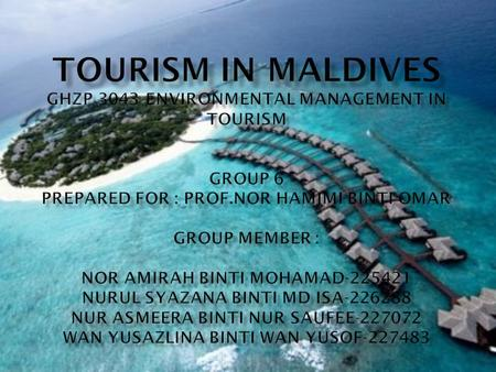  Tourism is the largest sector of the economy in the Maldives. It plays an important role in earning foreign exchange revenues and generating employment.