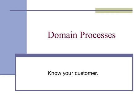Domain Processes Know your customer.. Last Class - Life Cycles the process we will use to create the software product This Class - Domain Processes