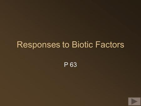 Responses to Biotic Factors P 63. Interspecific relationships Interactions between different species Competition for the same resources: e.g. food water,