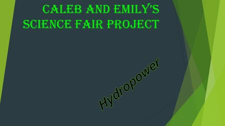 CALEB AND EMILY'S SCIENCE FAIR PROJECT. Purpose THE REASON I'M DOING THIS PROJECT IS TO SEE HOW HYDRO POWER WORKS.