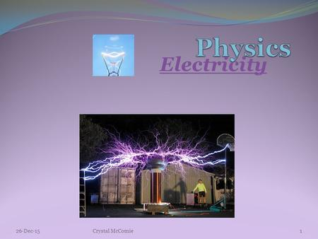 Electricity 26-Dec-151Crystal McComie. Electric Charge -Q Charging by Friction Static electricity is produced when a few electrons are transferred from.