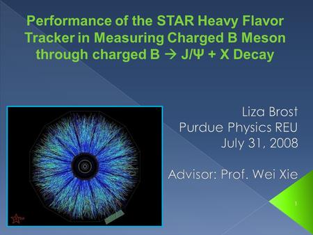 1 Performance of the STAR Heavy Flavor Tracker in Measuring Charged B Meson through charged B  J/Ψ + X Decay.