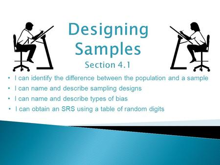 I can identify the difference between the population and a sample I can name and describe sampling designs I can name and describe types of bias I can.