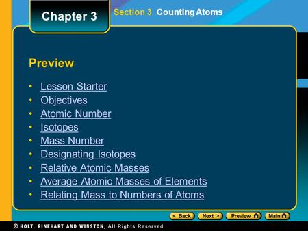 Chapter 3 Preview Lesson Starter Objectives Atomic Number Isotopes