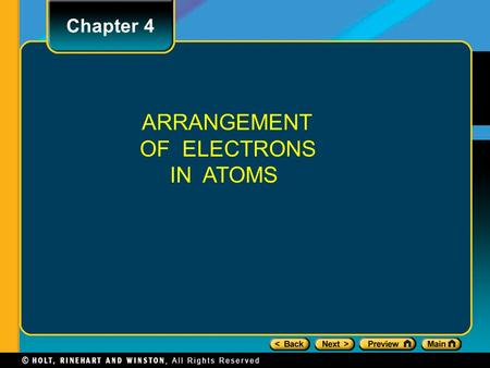 Chapter 4 ARRANGEMENT OF ELECTRONS IN ATOMS. Section 1 The Development of a New Atomic Model Properties of Light The Wave Description of Light Electromagnetic.