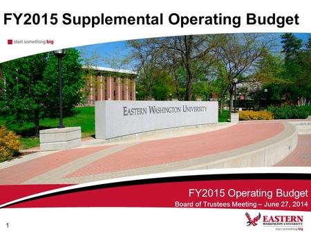 FY2015 Supplemental Operating Budget FY2015 Operating Budget Board of Trustees Meeting – June 27, 2014 1.