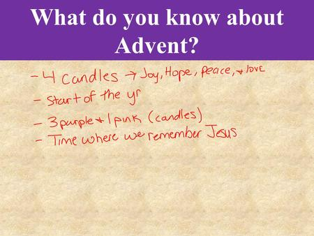 What do you know about Advent?. Bell Work What do you know about Advent?