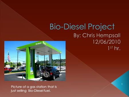 1 Picture of a gas station that is just selling Bio-Diesel fuel.