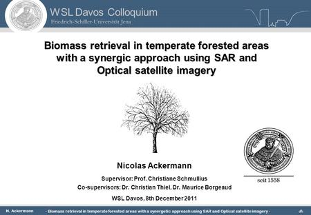 N. Ackermann - Biomass retrieval in temperate forested <strong>areas</strong> with a synergetic approach using SAR <strong>and</strong> Optical satellite imagery - 1 WSL Davos Colloquium.