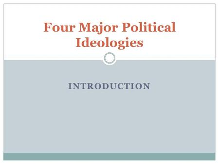 INTRODUCTION Four Major Political Ideologies.