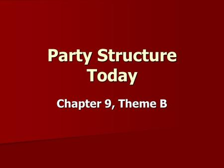 Party Structure Today Chapter 9, Theme B. Parties Similar on Paper National Conventions nominate the presidential candidates every 4 yrs. National Conventions.