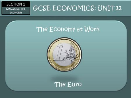 SECTION 1 MANAGING THE ECONOMY The Economy at Work GCSE ECONOMICS: UNIT 12 The Euro.