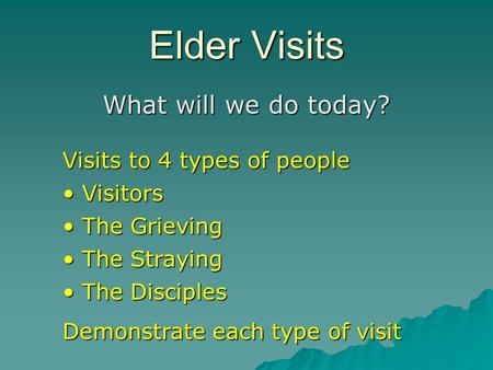 Elder Visits What will we do today? Visits to 4 types of people Visitors Visitors The Grieving The Grieving The Straying The Straying The Disciples The.