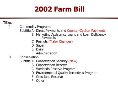 2002 Farm Bill Titles ICommodity Programs Subtitle ADirect Payments and Counter-Cyclical Payments BMarketing Assistance Loans and Loan Deficiency Payments.