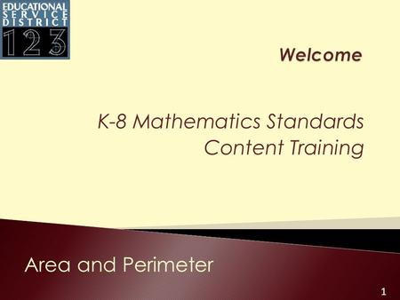 1 K-8 Mathematics Standards Content Training Area and Perimeter.