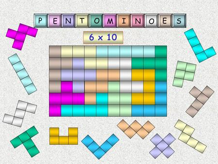 6 x 10 P E N TO M I N O E S More of that later! Poly-ominoes Many-squares Rules Full edge to edge contact only.