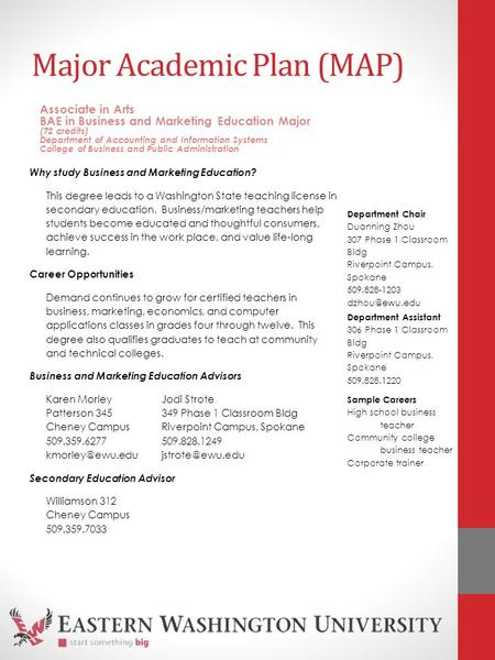 Major Academic Plan (MAP) Why study Business and Marketing Education? This degree leads to a Washington State teaching license in secondary education.