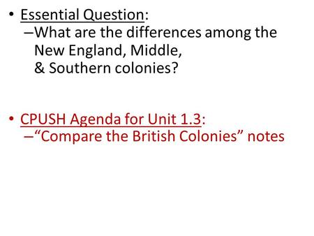 comparison of north middle and southern Comparison and contrast of the new england, middle and southern colonies after the establishment of the thirteen british colonies were divided into three geographical areas, these areas include: the new england, middle and southern colonies.