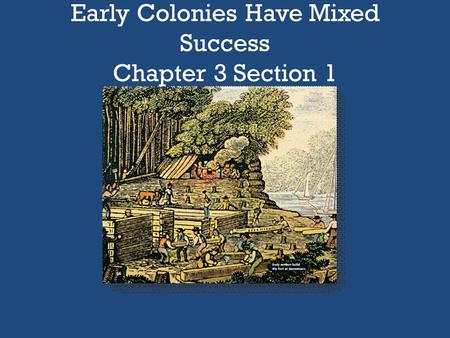 Early Colonies Have Mixed Success Chapter 3 Section 1.