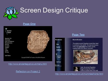Screen Design Critique   Page One Page Two Reflection on Project.
