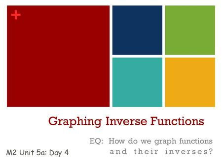 + Graphing Inverse Functions EQ: How do we graph functions and their inverses? M2 Unit 5a: Day 4.