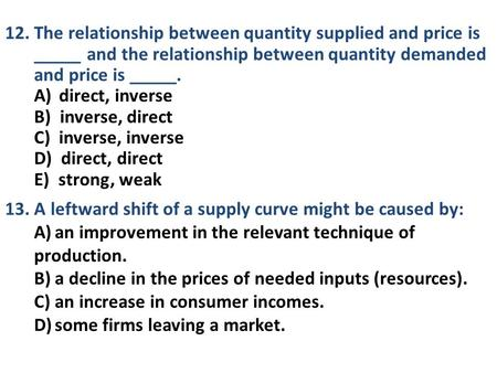 relationship between price and quantity supplied called