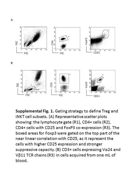 Supplemental Fig. 1. Gating strategy to define Treg and iNKT cell subsets. (A) Representative scatter plots showing: the lymphocyte gate (R1), CD4+ cells.